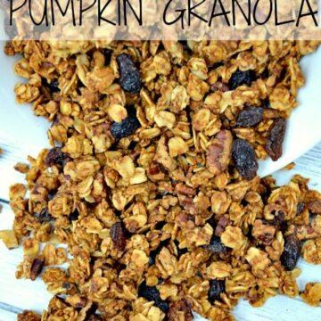Pumpkin Granola Recipe spread out on a white background