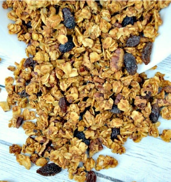 "This easy Pumpkin Granola Recipe is perfect to add a little ""Fall"" to your yogurt parfait or to have as a healthy snack."
