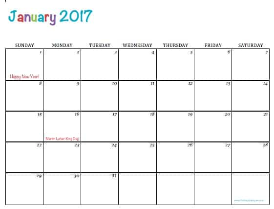 Free Printable 2017 Calendars - To Simply Inspire