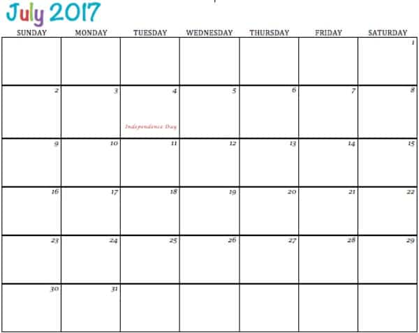 Free Printable Calendar July 2017 - To Simply Inspire