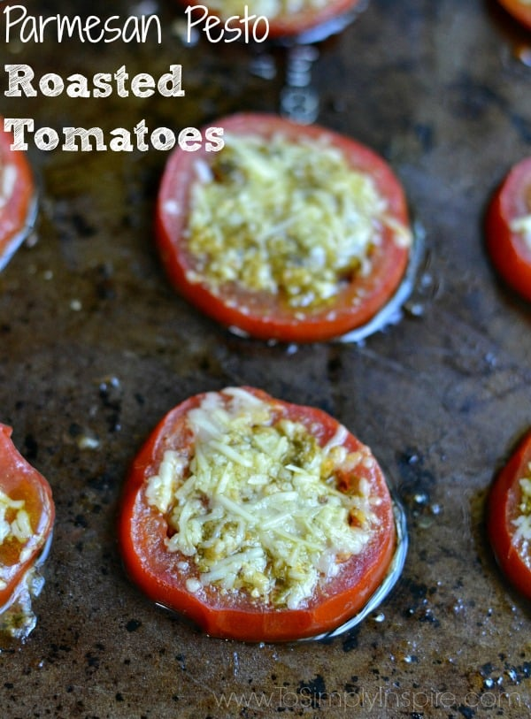 These Parmesan Pesto Roasted Tomatoes are a wonderful, light side dish bursting with flavor. Just 3 ingredients make them so easy to make for the perfect addition to a meal.