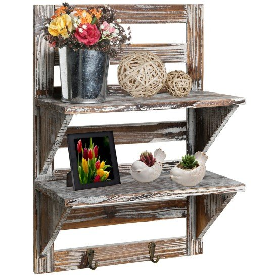 rustic-wood-wall-mounted-organizer-shelves-w-2-hooks