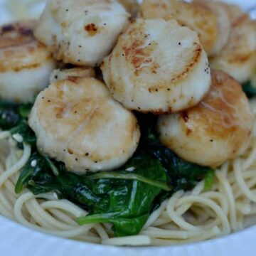 closeup of sautéed scallops over spinach and spaghetti noodles