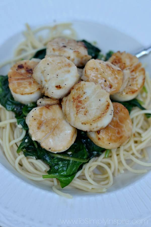 sautéed scallops over cooked spinach and spaghetti noodles