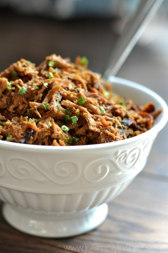 A close up of a bowl of shredded chicken topped with green onions with a fork