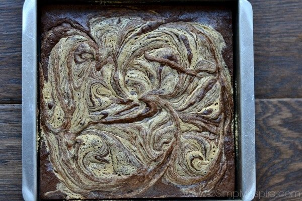 tahini swirled brownies in a baking dish