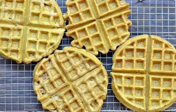 The perfect Fall Breakfast!!!These fluffy, healthy Pumpkin Waffles are bursting with pumpkin spice flavor!