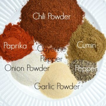 Piles of Ingredients for Homemade Taco Seasoning with text overlay on each pile