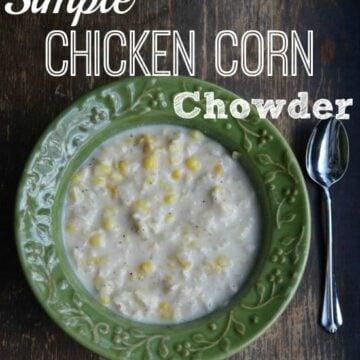 chicken corn chowder in a green bowl