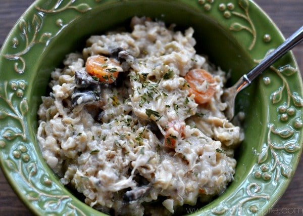 This all-in-one Creamy Crockpot Chicken and Brown Rice casserole screams comfort food! Healthi-fied with no creamy soups or heavy cream, just simple wholesome ingredients.
