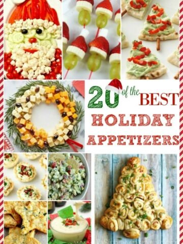 a collage of Holiday appetizers with text overlay 20 of the best holiday appetizers