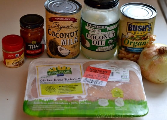 a package of chicken breasts with can of coconut milk, coconut oil, chickpeas and thai paste