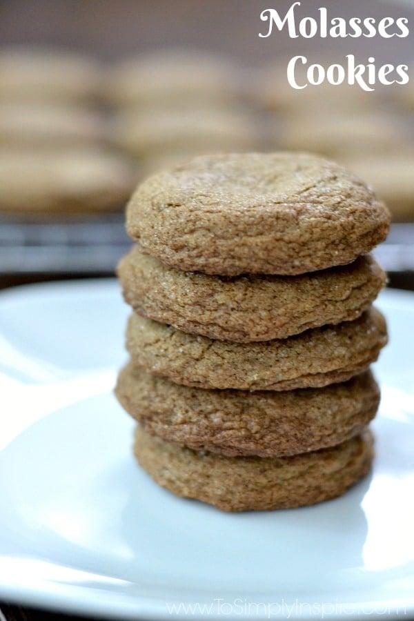 A closeup of a stack of five Molasses cookies