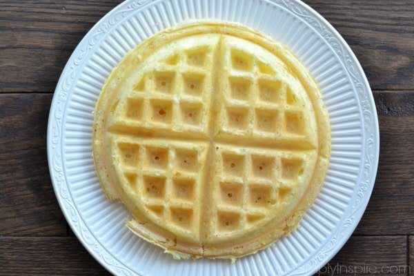 Closeup of low carb Protein Waffle on a white plate