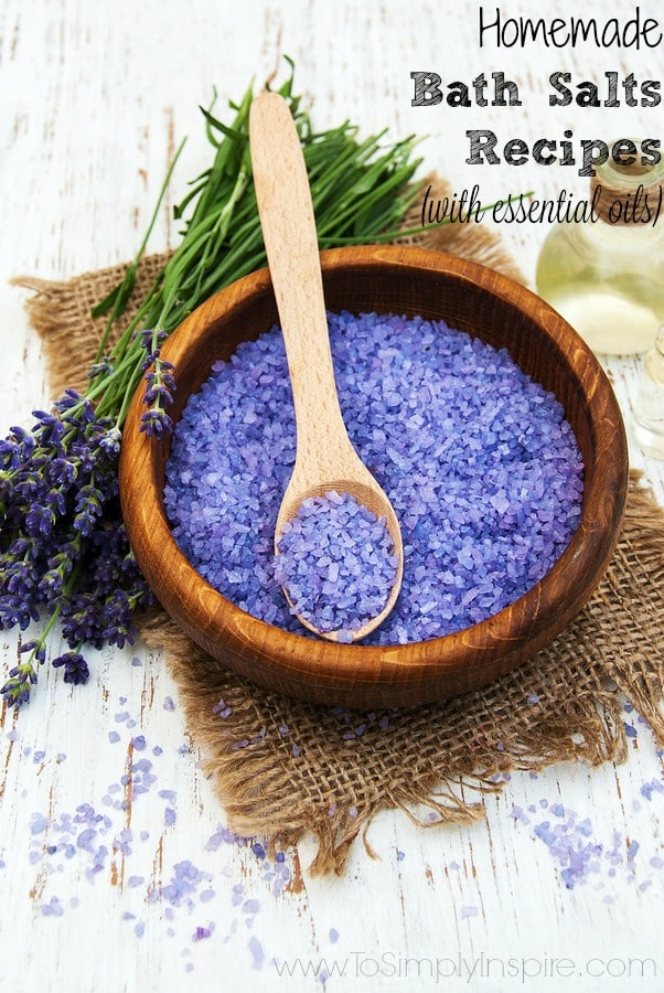 Lavender Bath salts in a wooden bowl with a wooden spoon