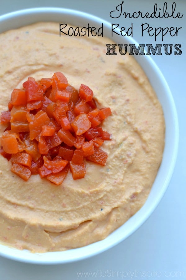 Roasted Red Pepper Hummus recipe in a white bowl