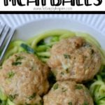 three Asian Turkey Meatballs on a bed of zucchini noodles
