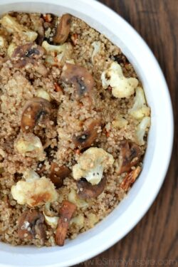 Balsamic Roasted Cauliflower and Mushroom Quinoa