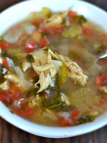 Cilantro Lime Chicken Soup in a white bowl