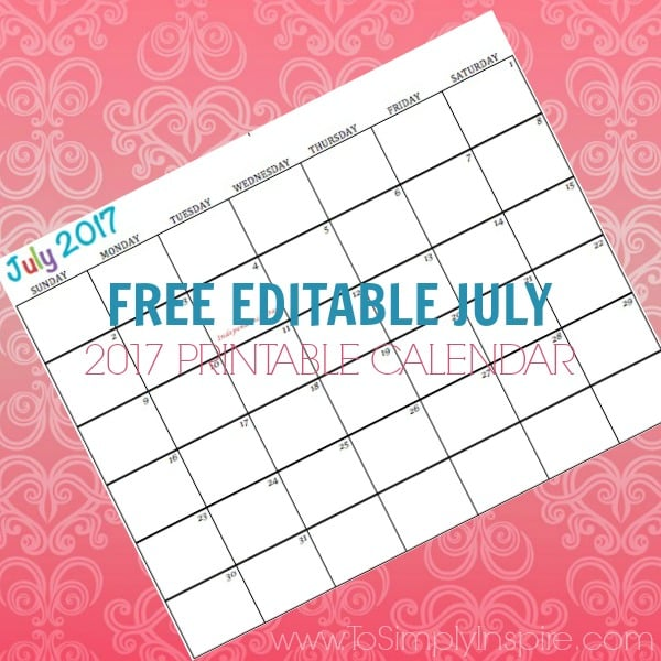 Free Printable Calendar July 2017 Great for kids schedules, meal planning, exercise schedules and more!