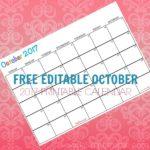 Free Printable Calendar October 2017