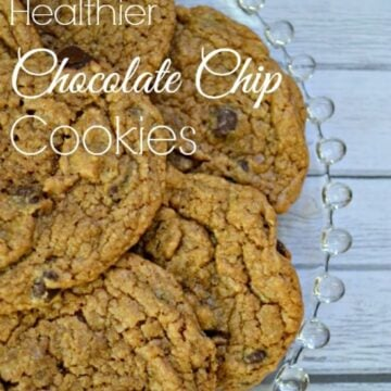 a plate of chocolate chips cookies