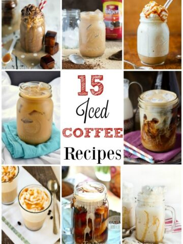 several different recipes of mugs  iced coffee