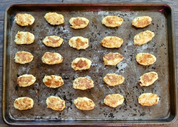 Cauliflower Tots recipe on baking sheet