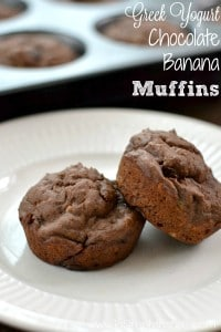 Two chocolate banana muffins on a white plate