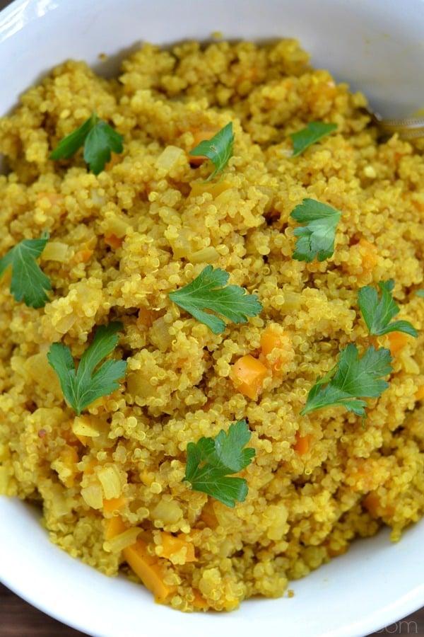 Curried Quinoa recipe in a white bowl