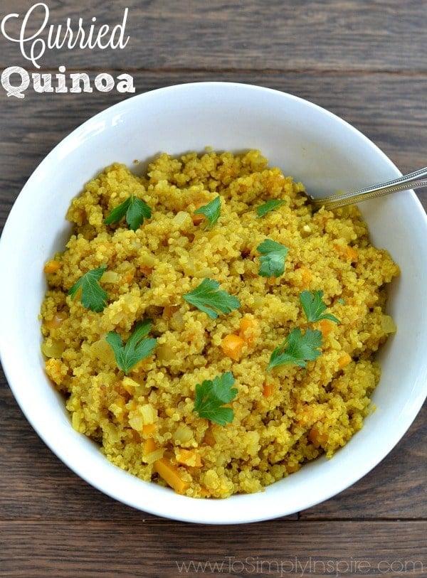 Curried Quinoa recipe in a white bowl.