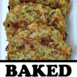 baked zucchini cakes on a white plate with text overlay