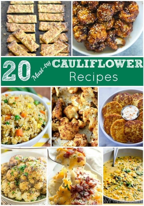 If you are on the look-out for new Cauliflower recipes, any of these 20 recipes will make this ultra healthy, low carb vegetable a new weekly favorite.