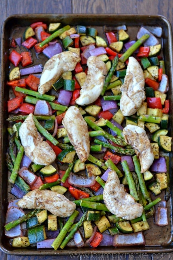 This simple, healthy Sheet Pan Balsamic Chicken and Vegetables is packed with delicious flavor and is ready in 20 minutes.