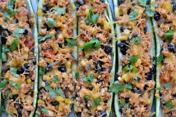 Closeup of Mexican Zucchini Boats recipe in a casserole dish