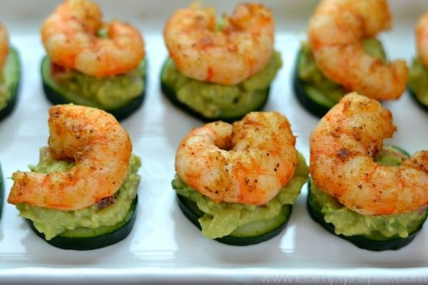 Blackened shrimp, creamy avocado atop fresh cucumbers slices make these little bites a wonderful choice for a light lunch or perfect appetizer.