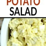 potato salad in a white bowl with text overlay