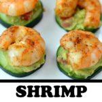 shrimp appetizer on cucumber and avocado