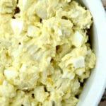 southern potato salad recipe in a white bowl