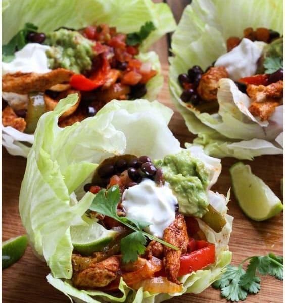 Chicken Fajitas Lettuce Wraps