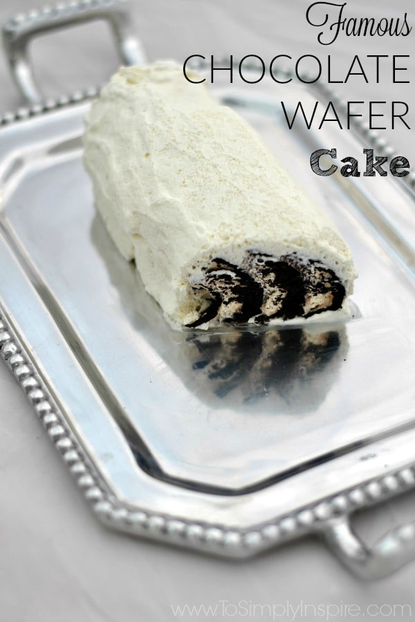 Chocolate Wafer Cake recipe sliced on a silver platter