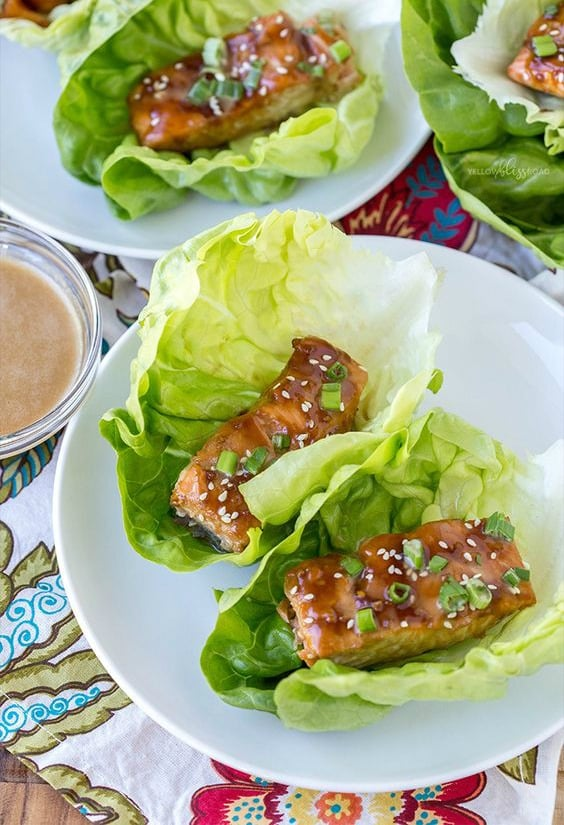 Teriyaki Salmon Lettuce Wraps - Try any of these fresh and healthy lettuce wraps for a great low-carb alternative to bread.