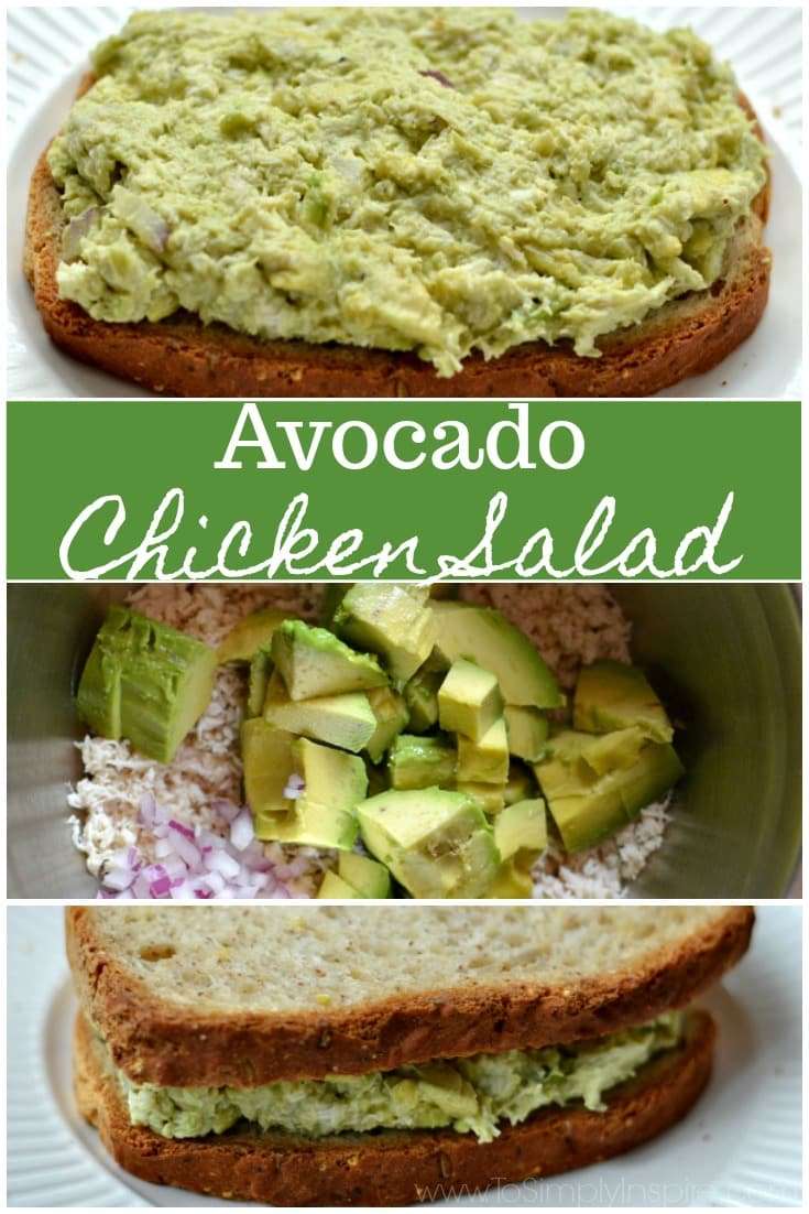 Simple and healthy! This Avocado Chicken Salad is seasoned with Greek yogurt, red onion, celery, cilantro, garlic powder but NO mayo! www.ToSimplyInspire.com