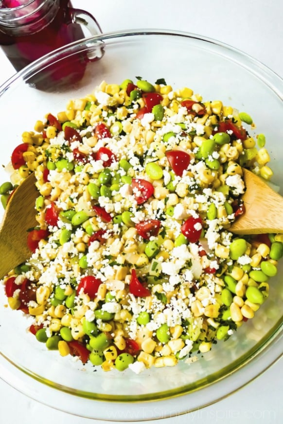 Succotash Salad recipe in big glass bowl.
