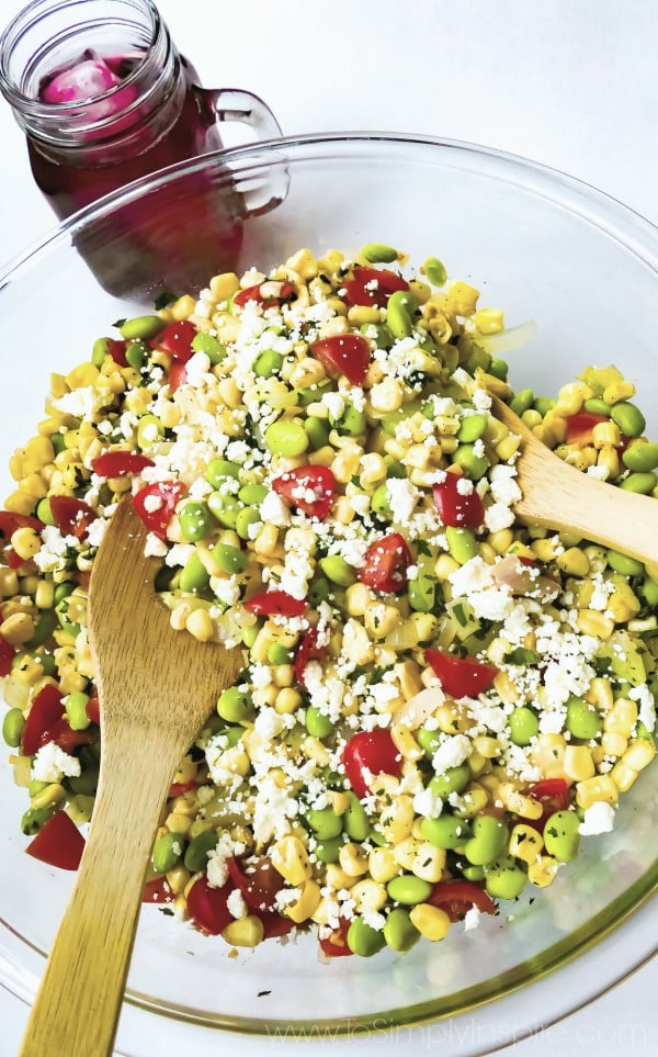 Succotash Salad recipe in a glass bowl