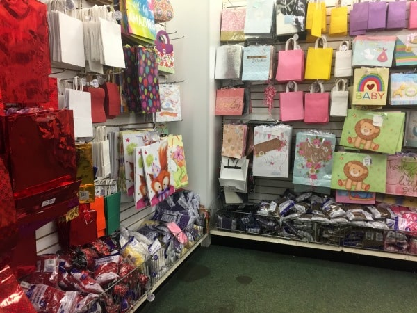 A display in a store of gift bags
