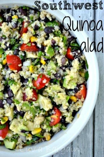 Southwest quinoa salad recipe in a white bowl