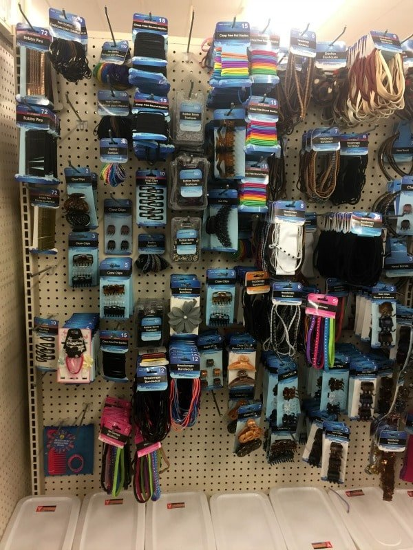 a Store display of hair elastics and clips