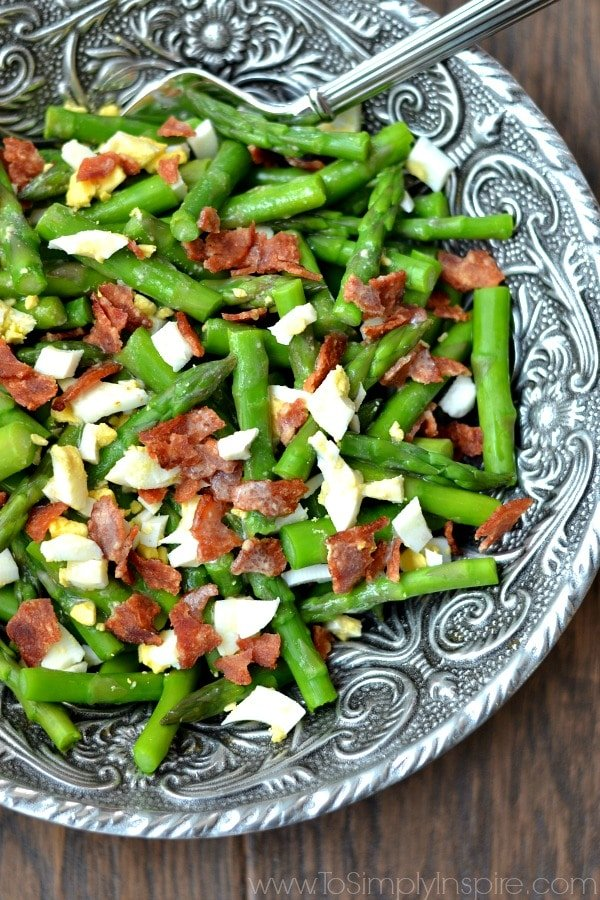 Asparagus Bacon and Egg Salad with Dijon Vinaigrette recipe in a big silver bowl