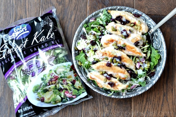 It doesn't get much easier than this simple Chicken and Kale Salad. Packed with superfoods - kale, green cabbage, broccoli, brussels sprouts, pumpkin seeds and more!